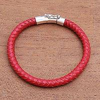 Men's sterling silver and leather bracelet, 'Brick Road' - Men's Braided Leather Bracelet