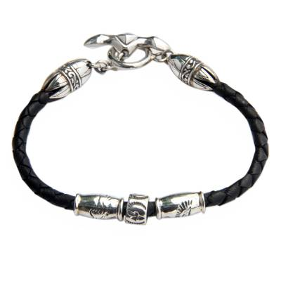 Handmade Sterling Silver and Braided Leather Bracelet