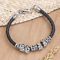 Leather braided flower bracelet,