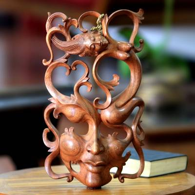 Wood mask, 'Sensuous Dreams' - Modern Wood Mask from Indonesia