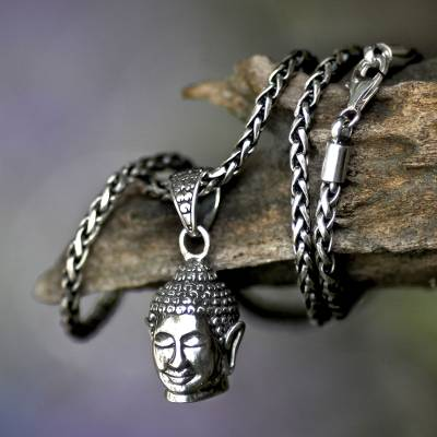 Men's sterling silver necklace, 'Smiling Buddha' - Men's Handmade Sterling Silver Pendant Necklace