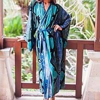 Women's batik robe, 'Seaside Blue' (short) - Women's batik robe (Short)
