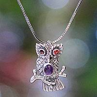 Garnet and amethyst pendant necklace, 'Wise Owl' - Sterling Silver and Amethyst Pendant Necklace