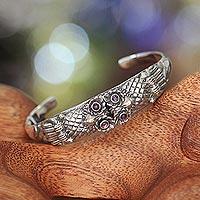 Amethyst cuff bracelet, 'Twin Owls' - Sterling Silver and Amethyst Cuff Bracelet