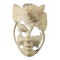 Wood mask, 'Awaiting the Frog Prince' - Unique Carved Wood Mask