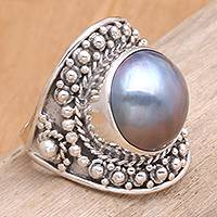 Pearl cocktail ring, 'Blue Bali' - Unique Indonesian Sterling Silver and Pearl Cocktail Ring