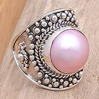 Pearl cocktail ring, 'Rose Bali' - Pearl cocktail ring