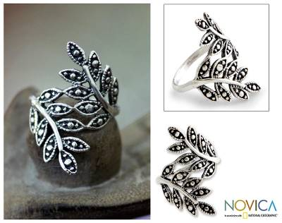 Sterling silver ring, 'Balinese Fronds' - Sterling Silver Leaf Ring