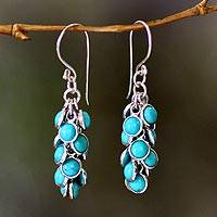 Sterling silver waterfall earrings, 'Madakaripura Delight' - Silver and Reconstituted Turquoise Waterfall Earrings