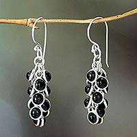 Onyx waterfall earrings, 'Madakaripura Delight' - Hand Crafted Sterling Silver and Onyx Earrings