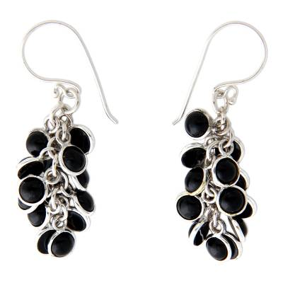Hand Crafted Sterling Silver and Onyx Earrings