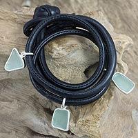 Men's sterling silver and leather bracelet, 'Ocean Story' - Men's Bracelet in Leather and Sea Glass