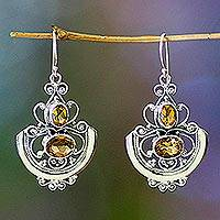 Citrine dangle earrings, 'Balinese Goddess' - Fair Trade Sterling Silver and Citrine Dangle Earrings