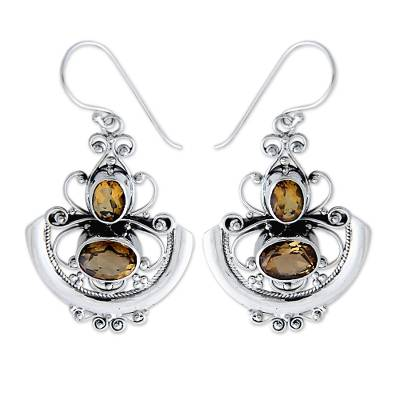 Fair Trade Sterling Silver and Citrine Dangle Earrings