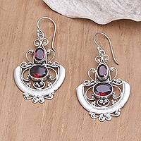 Garnet dangle earrings, 'Balinese Goddess' - Sterling Silver and Garnet Dangle Earrings