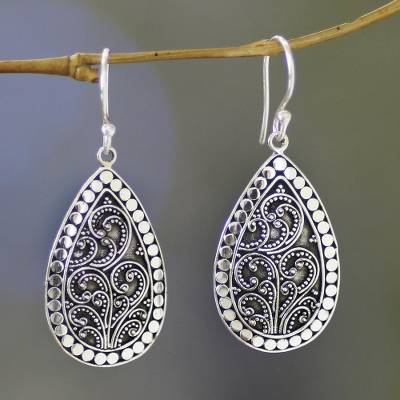 Sterling silver flower earrings, 'Denpasar Mystique' - Balinese Style Sterling Silver Dangle Earrings