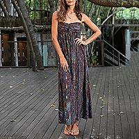 Batik dress, 'Bali Empress' - Batik Strapless Maxi Dress from Indonesia