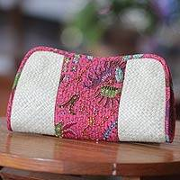Pandanus and cotton batik clutch bag,  'Indramayu Rose' (Indonesia)