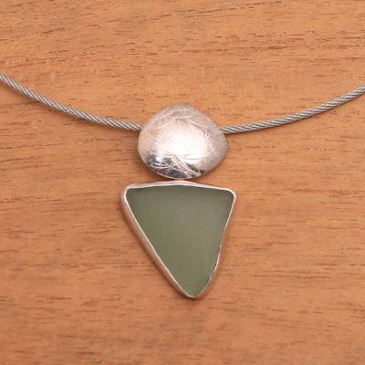 Sterling silver choker, 'Ocean Gift' - Hand Crafted Modern Sea Glass Necklace