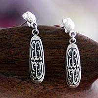 Sterling silver dangle earrings, 'Papua Scute' - Hand Made Sterling Silver Dangle Earrings