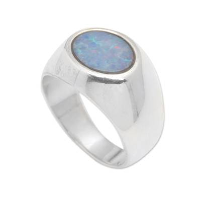 Opal domed ring, 'Infinite Bali' - Sterling Silver and Opal Domed Ring