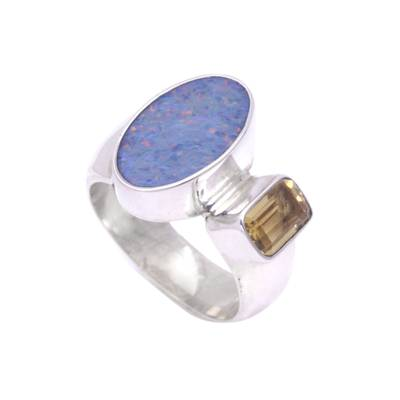 Handcrafted Opal and Citrine Ring