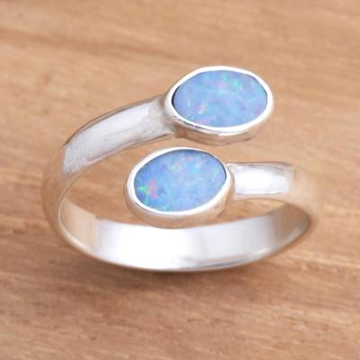 Opal wrap ring, 'Close to You' - Unique Indonesian Sterling Silver and Opal Wrap Ring