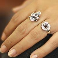 Garnet flower double ring, 'Bali Bee'
