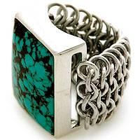 Sterling silver cocktail ring, 'Lovina Paradise' - Sterling Silver and Reconstituted Turquoise Ring