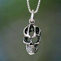 Mens sterling silver pendant necklace, Skeletal