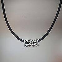 Sterling silver pendant necklace, 'Tribal Scroll'