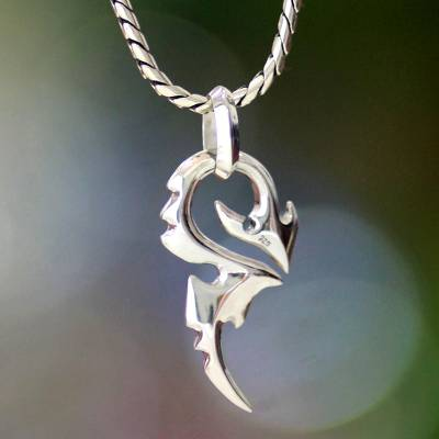 Men's sterling silver pendant necklace, 'Dragon Tail' - Men's Handmade Sterling Silver Pendant Necklace