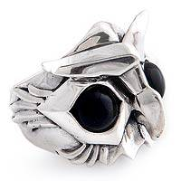 Men's onyx ring, 'Owl Power' - Men's Sterling Silver and Onyx Ring