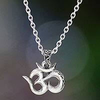 Men's sterling silver necklace, 'Mythical Om' - Indonesian Men's Sterling Silver Pendant Necklace
