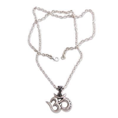 Men's sterling silver necklace, 'Mythical Om' - Men's Handcrafted Sterling Silver Pendant Necklace