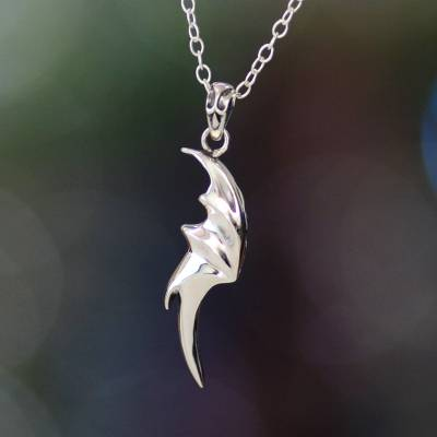 Men's sterling silver pendant necklace, 'Dragon Wing' - Men's Fair Trade Sterling Silver Pendant Necklace