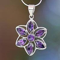 Amethyst flower necklace, 'Chakra Lotus' - Handcrafted Amethyst and Sterling Silver Pendant Necklace
