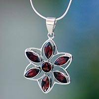 Garnet flower necklace, 'Chakra Lotus' - Fair Trade Garnet and Silver Pendant Necklace