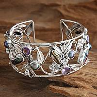 Pearl and amethyst flower bracelet, 'Tropical Frangipani' - Pearl and Amethyst Sterling Silver Cuff Bracelet