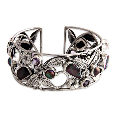 Pearl and Amethyst Sterling Silver Cuff Bracelet