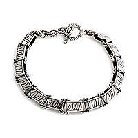 Men's sterling silver bracelet, 'Rolling Waves' - Men's sterling silver bracelet