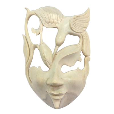 Wood mask, 'Lotus and Hummingbird' - Wood Bird Mask