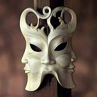 Wood mask, 'In Three Directions' - Hibiscus Wood Wall Mask