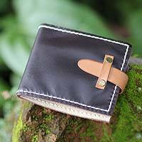 Men's leather wallet, 'Java Brown' - Men's leather wallet