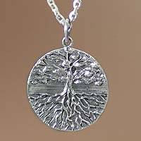 Men's sterling silver necklace, 'Tree of Life' - Men's Handmade Sterling Silver Necklace