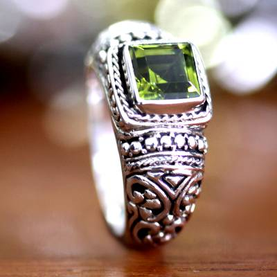 Peridot solitaire ring, 'Balinese Forest' - Peridot solitaire ring