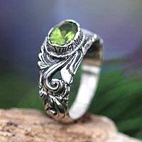 Peridot solitaire ring, 'Feminine Charm' - Sterling Silver and Peridot Ring