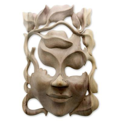 Wood mask, 'Quirky' - Handcrafted Contemporary Leaf Mask