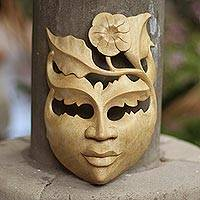 Wood mask, 'Frangipani Summer' - Floral Wood Wall Mask