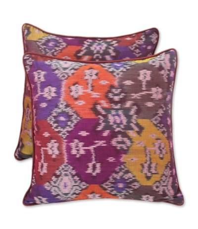 Cotton cushion covers, 'Ubud Fire' (pair) - Cotton cushion covers (Pair)